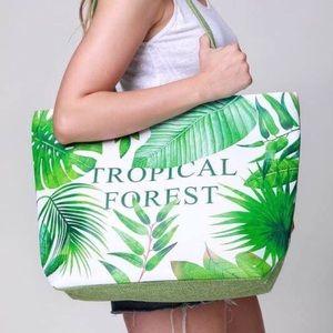 🆕Tropical Forest Vibrant Leaf Print Tote Bag